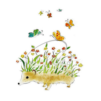 Hedgehog Garden - Art Print butterflies flowers cute kids room baby nursery child gift ideas colorful watercolor painting Oladesign 8x10