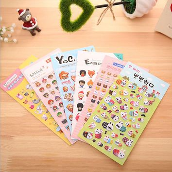 3pcs/ lot Cute Creative transparent PVC Animal Expression sticker child kawaii  diy toy Calendar Album Deco  Cartoon bubble Stic