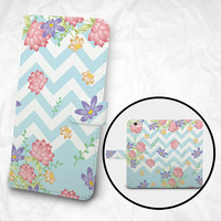 iPhone 6 6S Plus case Samsung Galaxy S7 case Edge case Note 5 4 3 2 PU leather flip cover Book Phone case Wallet case - K14 Flowers Chrevon