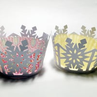 Snowflake cupcake frozen wrappers cut outs