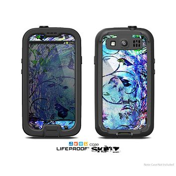 The Black & Bright Color Floral Pastel Skin For The Samsung Galaxy S3 LifeProof Case