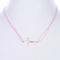NECKLACE / LINK / CORD / METAL / CROSS / 2/3 INCH DROP / 18 INCH LONG / NICKEL AND LEAD COMPLIANT
