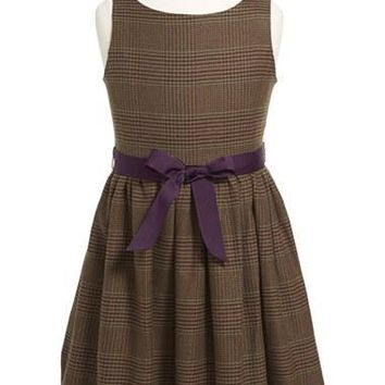 Toddler Girl's Ralph Lauren Tweed Fit & Flare Dress,
