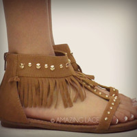 SZ 6.5 Barrington Tan Fringe Studded Tribal Ankle Sandals