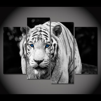 White Tiger Blue Eyes 5-Piece Wall Art Canvas