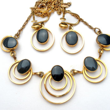 Black Onyx Necklace and Earrings GF Set Vintage
