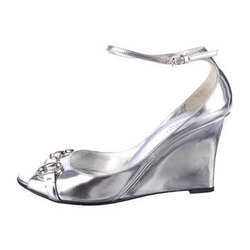 Gucci Metallic Horsebit Wedges
