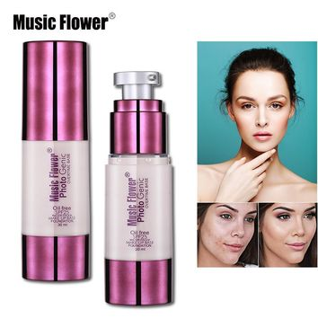 Music Flower Face Liquid Foundation Makeup Oil-free Waterproof Creamy Foundation Full Cover Concealer Make Up Base Primer SPF25