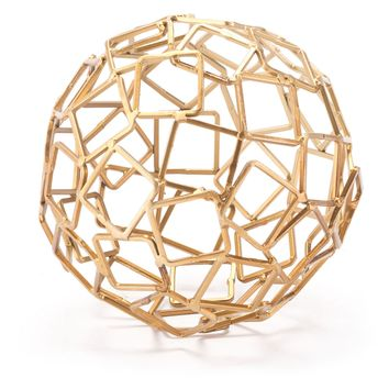 Gold Squares Orb Figurine