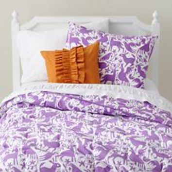 The Land of Nod | Kids' Bedding: Lavender Otomi Animals Girls' Bedding in Girl Bedding