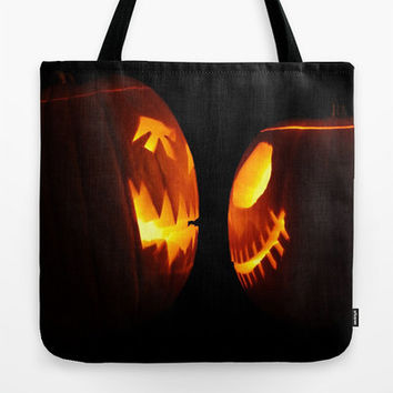 Trick or Treat Bag, Halloween Tote Bag, Jack O' Lantern FACE OFF, Happy Halloween, Halloween Tote Bag, Black & Orange