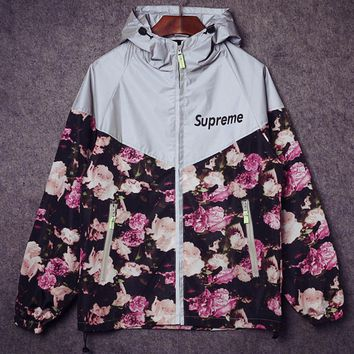 Retro skateboards rose flowers 3M reflective trench coat tide men and women couple jacket Jackets Class service