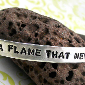 There Is a Flame That Never Dies - Hand Stamped 1/4-inch Les Miserables Bracelet -