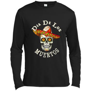 Sugar Skull Man With Sombrero Day Of The Dead Hallow Long Sleeve Moisture Absorbing Shirt
