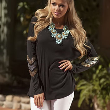 Sequins Elbow Brushed Chevron Tunic Black CLEARANCE - Modern Vintage Boutique
