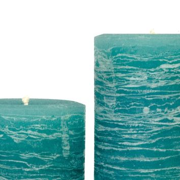 Teal Pillar Candle | Aqua Rustic