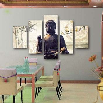 5 Piece Canvas Art Modern Printed Buddha Painting Picture Buddha Paintings Wall Canvas For Living Room Picture Print /PT0006
