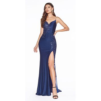 Navy Blue Embellished Long Prom Dress Strappy Back with Slit