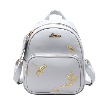 Fashion Women Leather Backpack Set Handmade Embroidery Dragonfly Floral School Bags for Girls Small Newest Female Backpacks