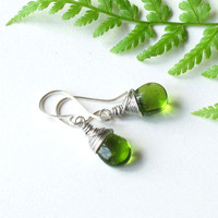 Green teardrop earrings - wire wrapped silver and emerald glass