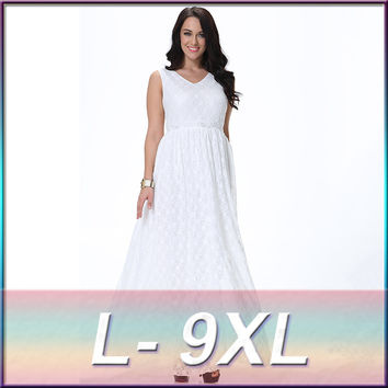 L-9XL White Boho Dress Sexy Dress Evening Party Long Lace Maxi Dresses Sleeveless V-Neck Empire Waist Tunic Floor Length