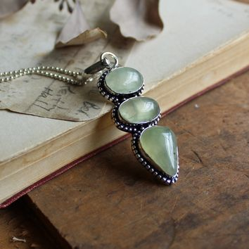 Prehnite Silvertone Necklace