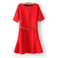 Summer Women's Fashion Round-neck Half-sleeve Skirt One Piece Dress [4917840260]