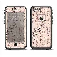 The Tan Music Note Pattern Apple iPhone 6/6s LifeProof Fre Case Skin Set