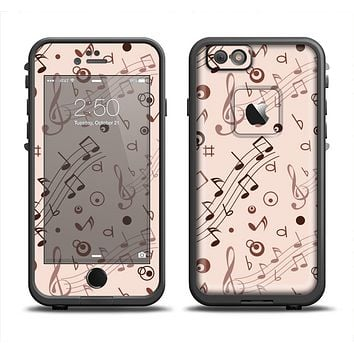 The Tan Music Note Pattern Apple iPhone 6 LifeProof Fre Case Skin Set