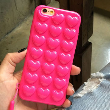 Korean Love Peach Heart Jelly Candy Soft Silicone TPU Clear Phone Back Cover Case For iPhone 6 6S 6 Plus 6S Plus 7 7 Plus