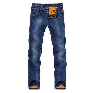 Jeans Men Warm Thicken Fleece Black Blue Slim Skinny Pencil Pants Stretch Tapered Casual Yong Man Trousers Fashion Pockets