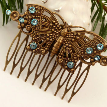 Elegant Hair Comb in blue bronze with butterfly, antique hair accessories, hair comb insect, summer, rhinestone hair comb, bridal hair comb