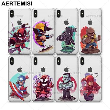 Aertemisi Spider-Man Squirrel Girl Thanos Thor Venom Venompool Wolverine Clear TPU Case Cover for iPhone 5 5s SE 6 6s 7 8 Plus X