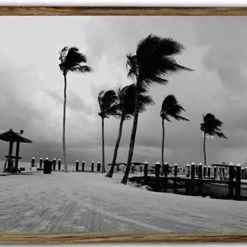 Windy Day At The Beach Metal Sign With Barnwood Frame