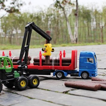 siku 1:87 Engineering series Wooden truck Grab a wooden car Alloy car model Children's toys ornaments Children like the gift