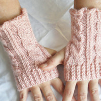 Wrist Warmers Fingerless Gloves in Pink Cable by MadebyMegShop