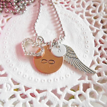 In Loving Memry Copper Hand Stamped Necklace Infinity Heart Wing Initial