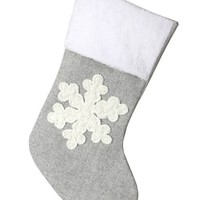 """Holiday Decor Snowflake Fabric Stocking in Grey White - 20"""" Tall"""