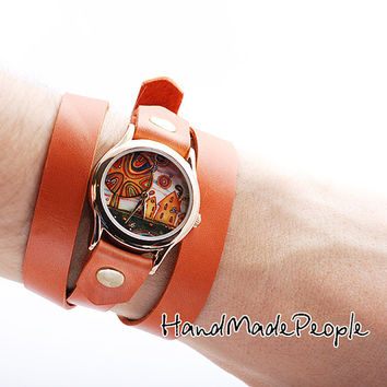 Little Town Ladies Wrist Watch with Orange Leather Bracelet Wrap Around Wrist, Women Wristwatch, Women Golden Watch Case - Free Shipping