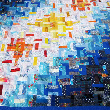 Handmade Patchwork Quilt, Unique Twin Bed Quilt, Large Throw Quilt, Day and Night, Blue and White Patchwork Blanket, Colorful Lap Quilt