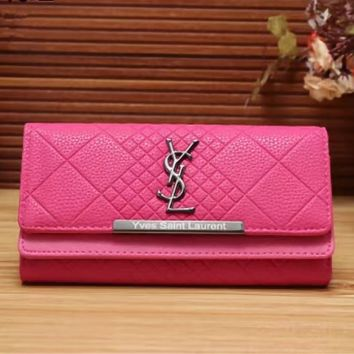 YSL Women Leather Multicolor Wallet Purse