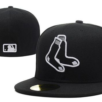 PEAPON Boston Red Sox New Era MLB Authentic Collection 59FIFTY Hat Black-White