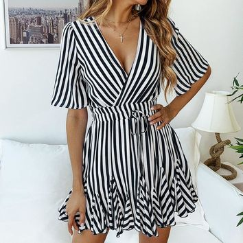 Fashion New Stripe V-Neck Short Sleeve Dress Women