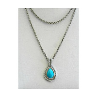 Southwestern Style Necklace With Multi Layered Chains and Teardrop Shaped Turquoise Glass Pendant - Horseshoe Necklace, Southwestern Jewelry