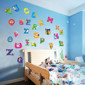 42x23cm A-Z Alphabet&Animals home decoration letters English Vinyl Mural Wall Stickers Decals Nursery Kids Room Decor For Wall
