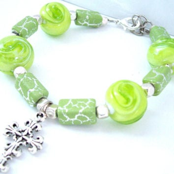 Cross Bracelet With Silver Cross Charm, Spring Green Cross Bracelet, Christian Jewelry, Christian Bracelet
