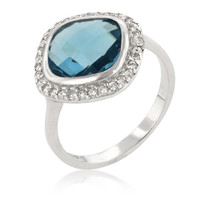 Sterling Silver Ocean Blue Halo CZ Cocktail Ring
