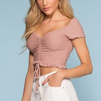 Summer Wind Ruched Crop Top - Mauve