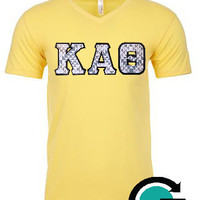 CUSTOM Next Level Unisex Premium Fitted V Neck with Greek Letters - Perfect for Sorority's!