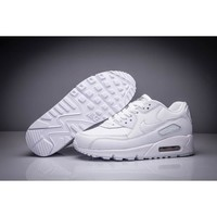 Hot Nike Air Max90 All White Leather women men shoes 36-44